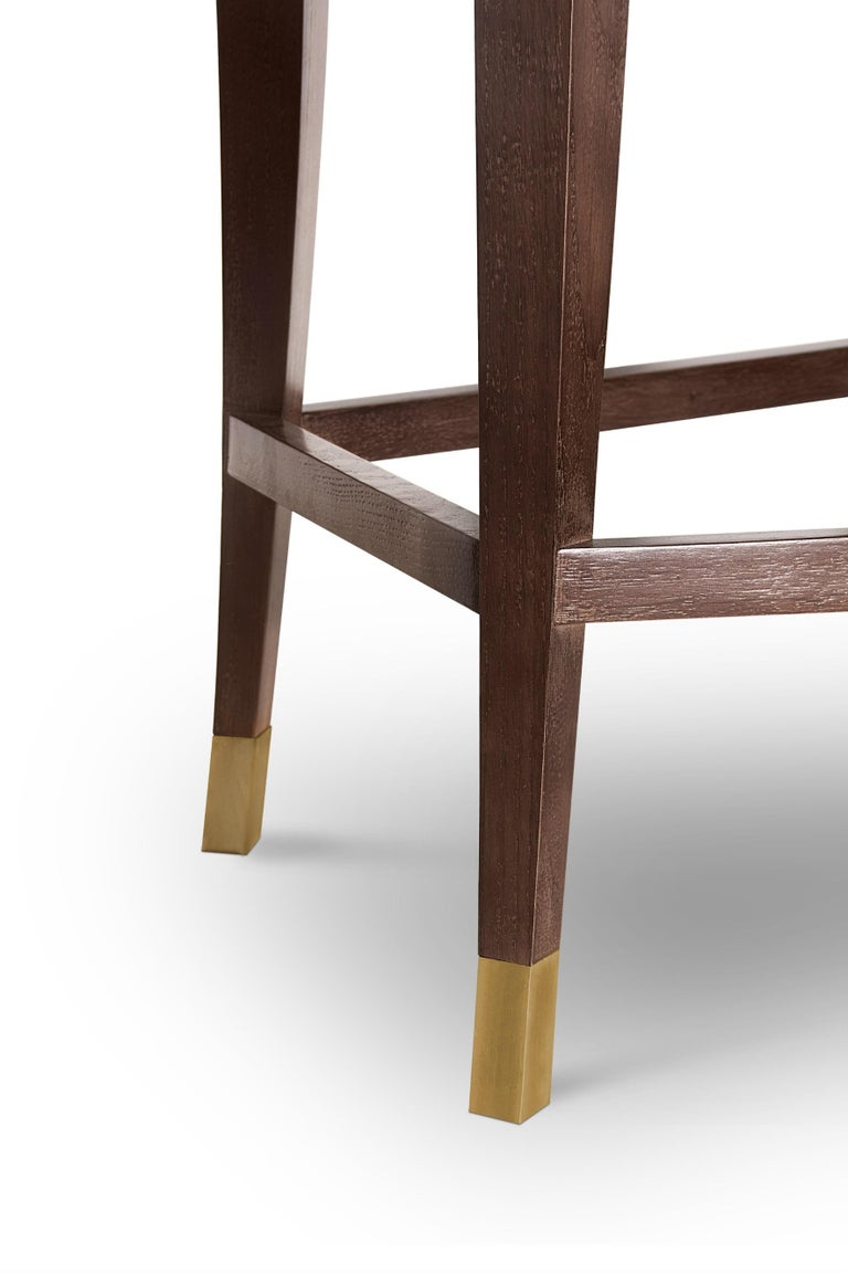 Bourbon Counter Stool in Cotton Velvet And Aged Brass Details For Sale 1