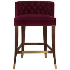 Bourbon Counter Stool in Cotton Velvet And Aged Brass Details