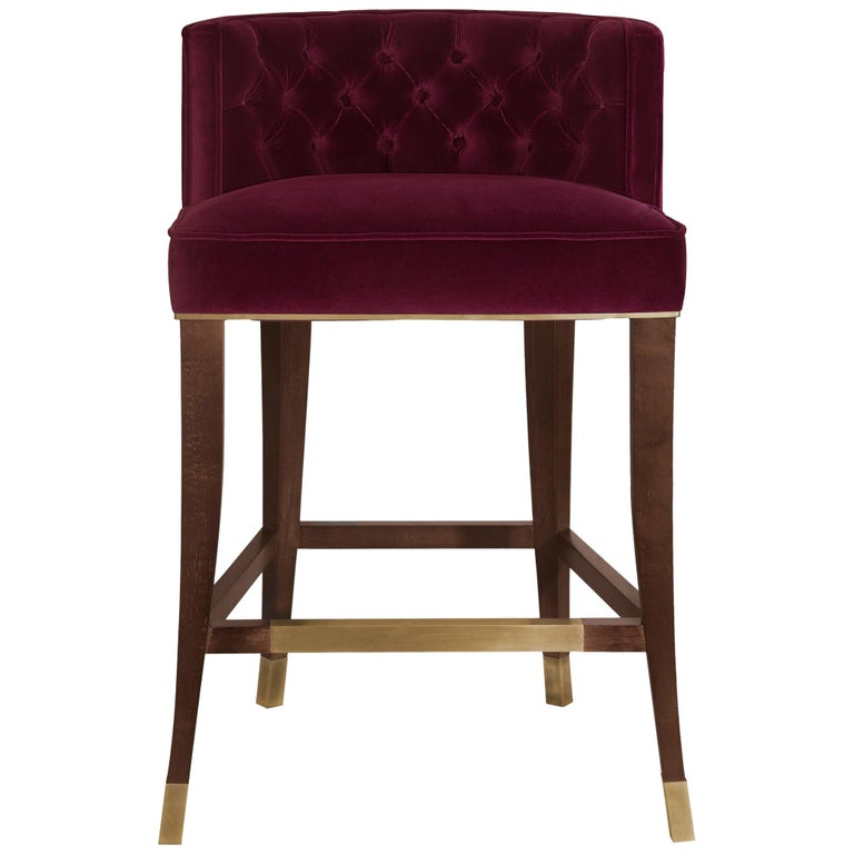 Bourbon Counter Stool in Cotton Velvet And Aged Brass Details For Sale