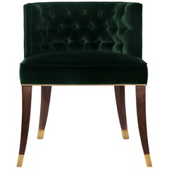 Bourbon Dining Chair in Cotton Velvet with Wood & Brass Detail
