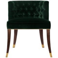 Brabbu Bourbon Dining Chair in Green Cotton Velvet with Wood & Brass Detail
