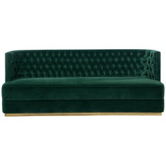 Bourbon Sofa in Green Cotton Velvet with Brass Base