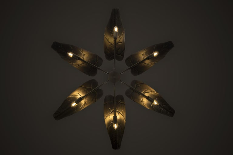 Art Deco Brabbu Calla Chandelier in Hammered Aged Brass For Sale