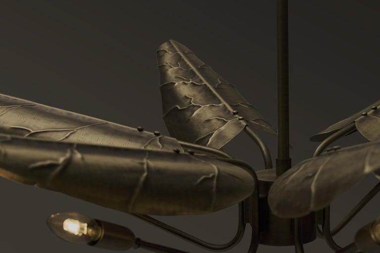 Portuguese Brabbu Calla Chandelier in Hammered Aged Brass For Sale
