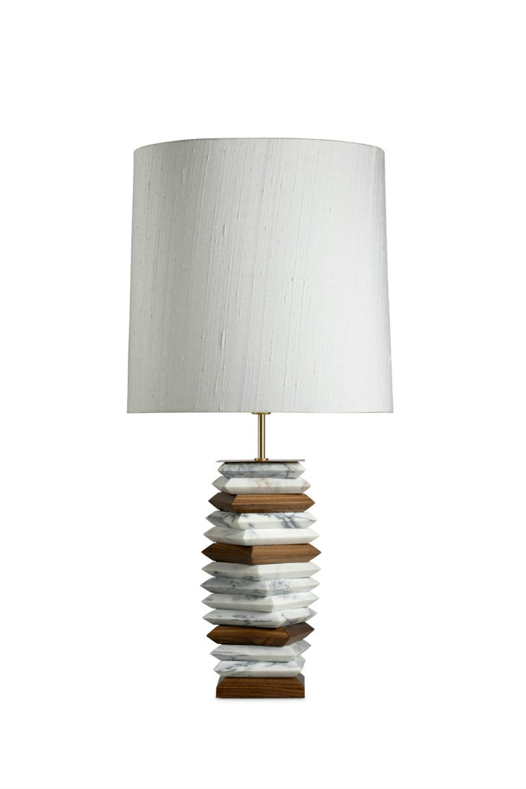 Calla Table Lamp in Hammered Aged Brass with Marble Base In New Condition For Sale In New York, NY
