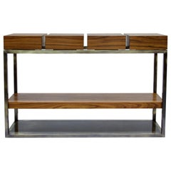 Cassis Console Table in Wood with Brass Details