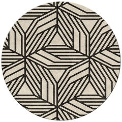 Brabbu Cauca Kreisförmiger Handgetufteter Wolle Teppich II in Schwarz/Weiß