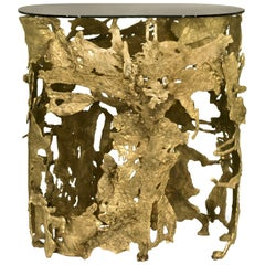 Cay Console Table in Matte Casted Brass with Bronze Glass Top