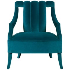 Cayo Armchair in Teal Blue Cotton Velvet