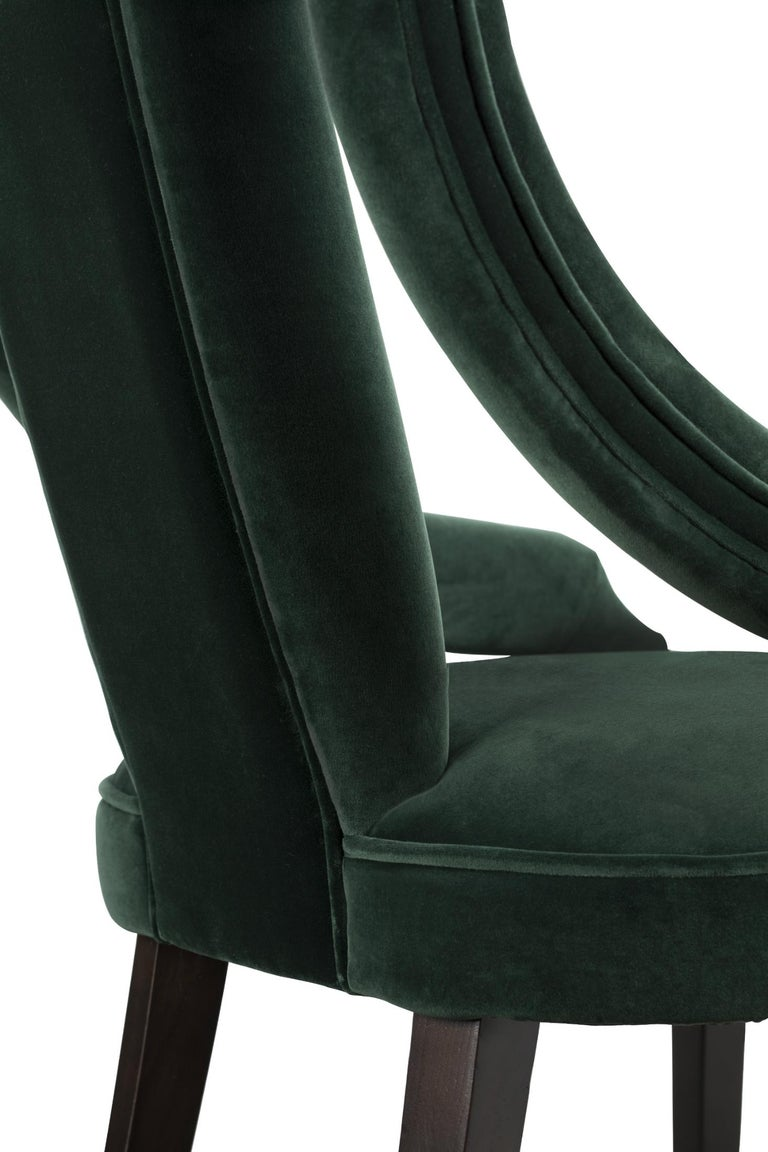 Brabbu Cayo Dining Chair In Green Cotton Velvet With Wood