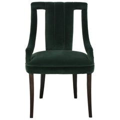 Cayo Dining Chair in Green Cotton Velvet with Wood Legs