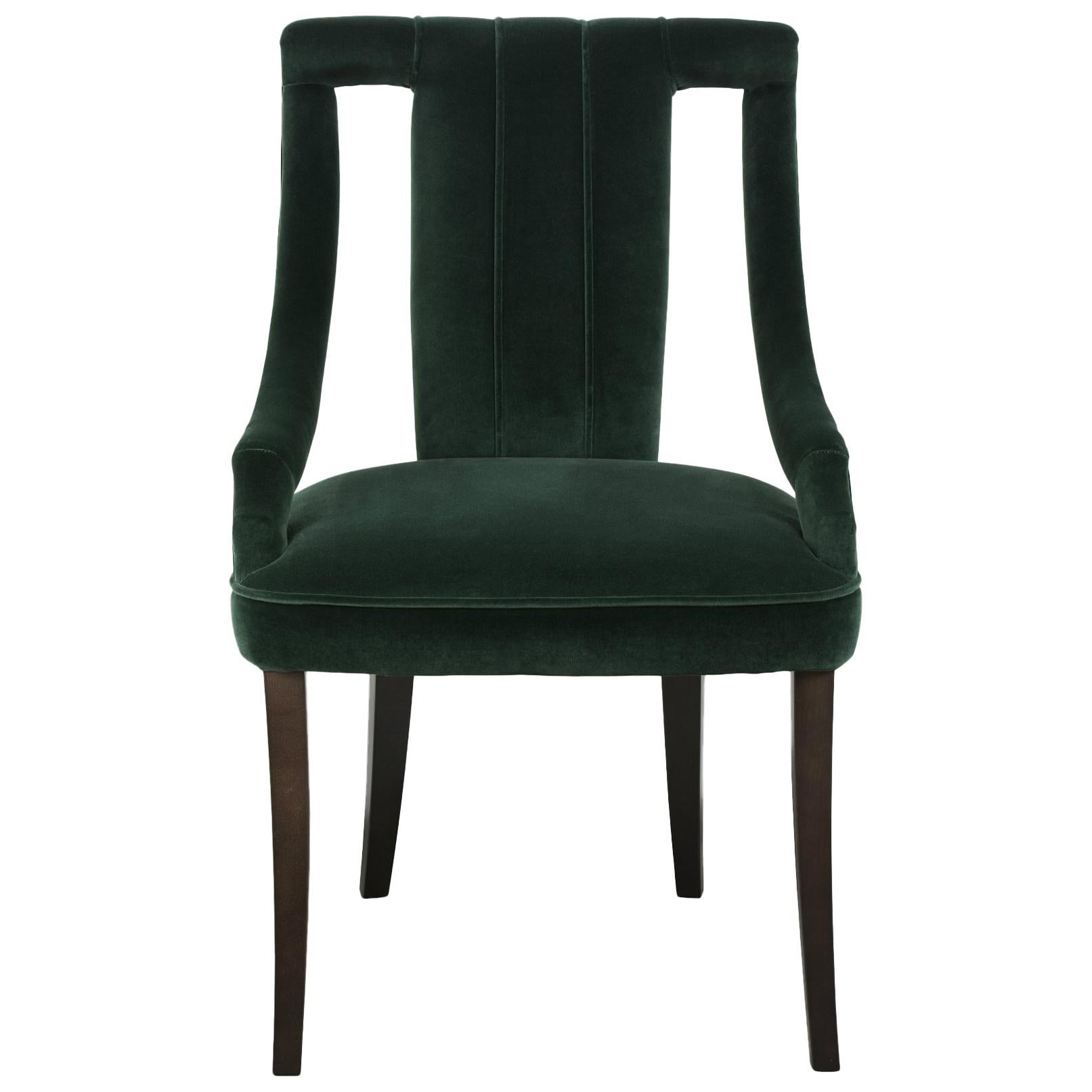 Cayo Dining Chair In Green Cotton Velvet With Wood Legs For Sale
