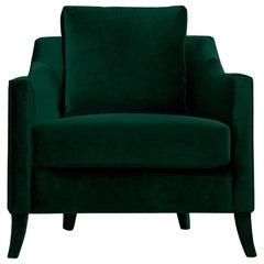 Como Armchair in Cotton Velvet and Fully Upholstered Legs