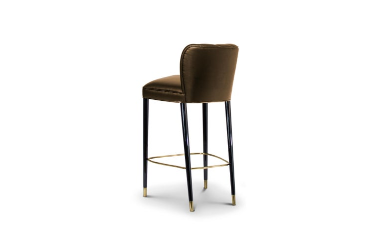 Dalyan Counter Stool In Bronze Faux Leather With Polished