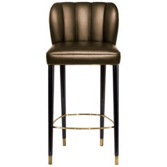 Brabbu Dalyan Counter Stool in Bronze Faux Leather with Polished Brass Detail