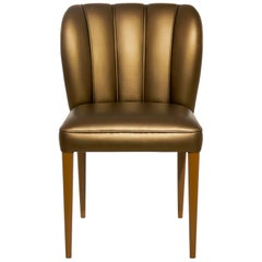 Dalyan Dining Chair in Faux Leather With Gloss Varnish Legs