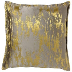 Brabbu Daurat Pillow in Gold and Gray Satin