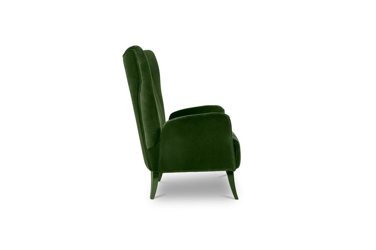 Modern Davis Armchair in Cotton Velvet With Matte Lacquered Legs For Sale