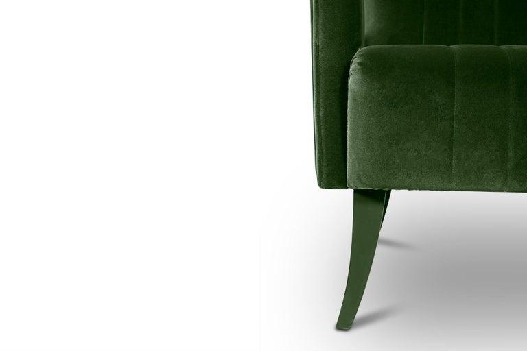 Portuguese Davis Armchair in Cotton Velvet With Matte Lacquered Legs For Sale