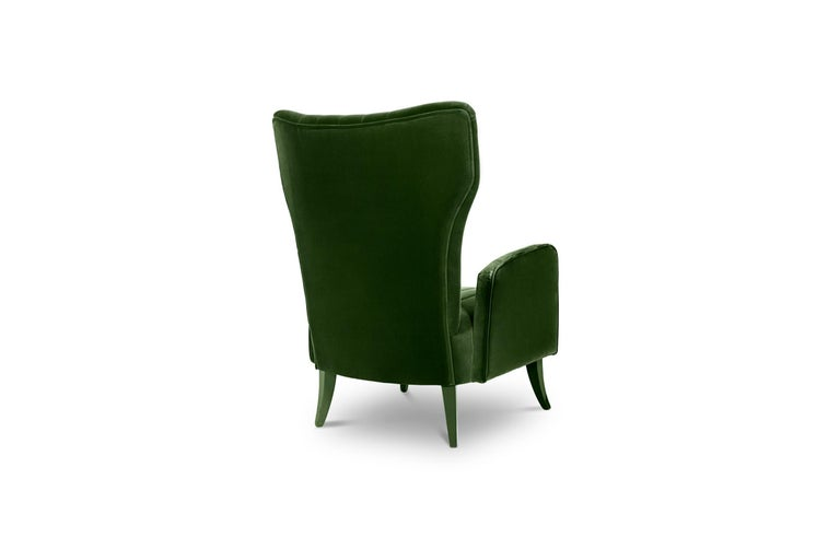 Davis Armchair in Cotton Velvet With Matte Lacquered Legs For Sale 2