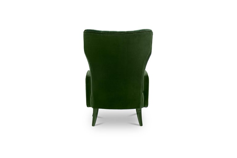 Davis Armchair in Cotton Velvet With Matte Lacquered Legs For Sale 3