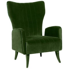 Brabbu Davis Armchair in Green Cotton Velvet