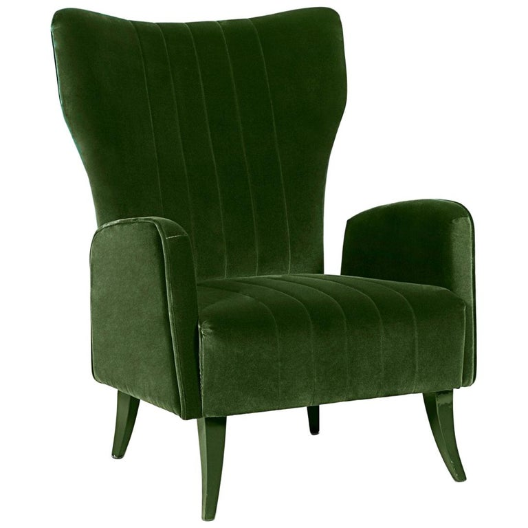Davis Armchair in Cotton Velvet With Matte Lacquered Legs For Sale