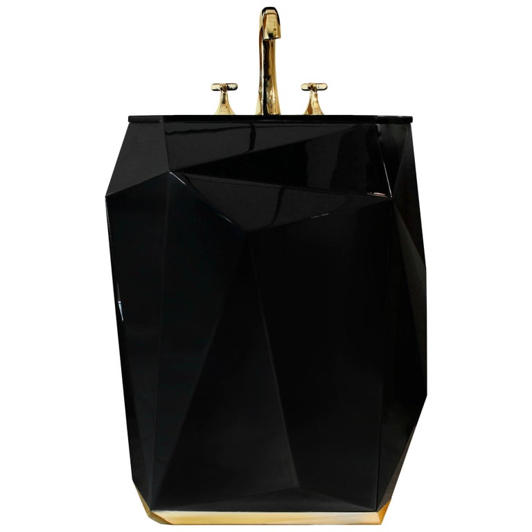 Brabbu Diamond Free Stand in Wood with Black Gloss Finish For Sale