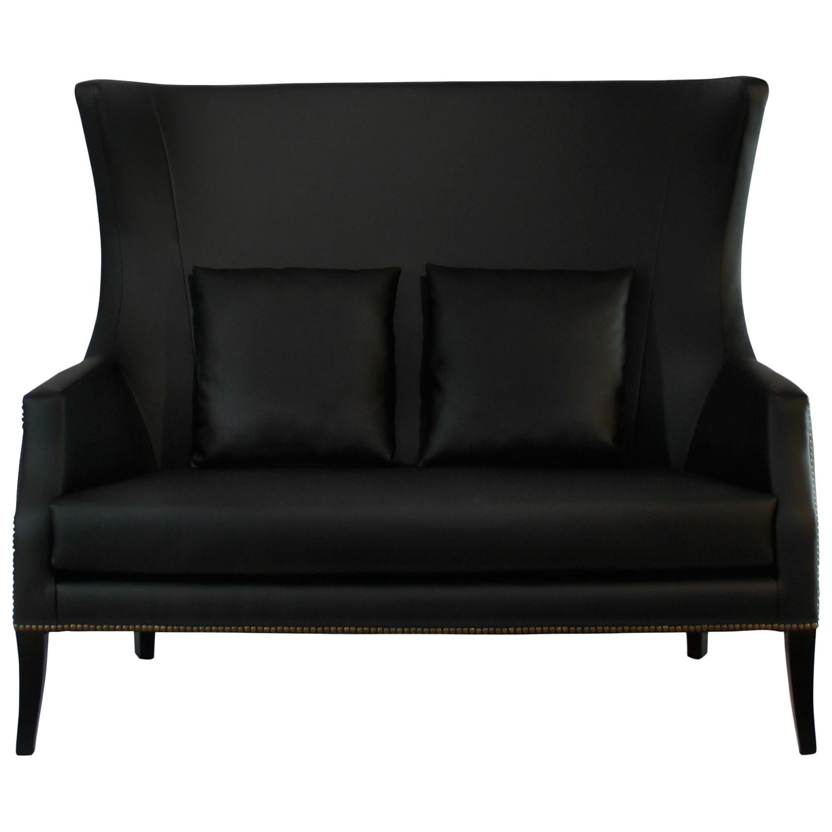 Dukono Sofa in Faux Leather with Metal Detail
