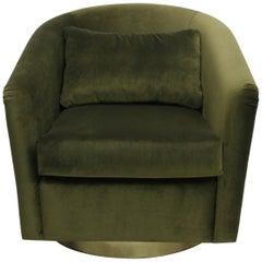 Brabbu Earth Armchair in Olive Cotton Velvet with Gold Details
