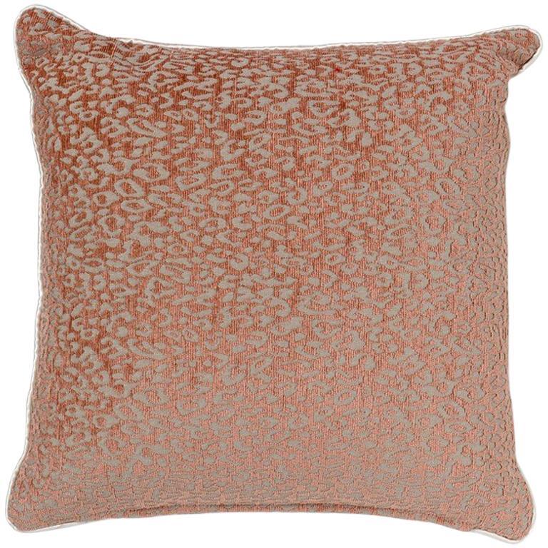 Brabbu Eclectic Pardus Pillow in Orange Animal Print Twill For Sale