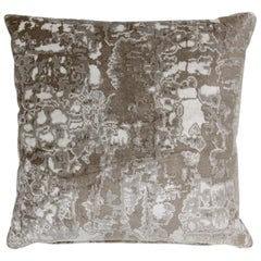 Brabbu Eclectic Wallingford Pillow in Beige and Gray Velvet