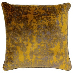 Brabbu Eclectic Wallingford Pillow in Yellow and Gray Velvet