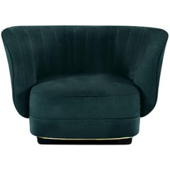 Elk Armchair in Cotton Velvet With Black Glossy Lacquered Base