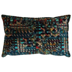 Brabbu Gerard Rectangular Sky Pillow in Blue & Green Multicolored Velvet