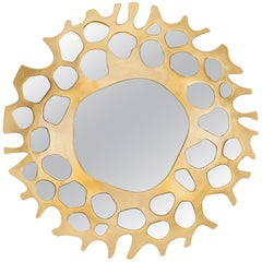 Helios Mirror with Soft Gold Leaf Finish