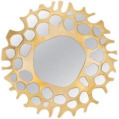 Brabbu Helios Mirror with Soft Gold Leaf Finish