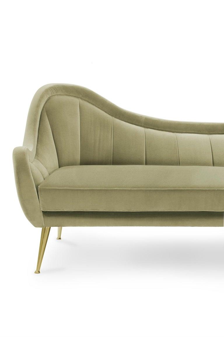 Brabbu Hermes Sofa In Pale Green Cotton Velvet With Gold