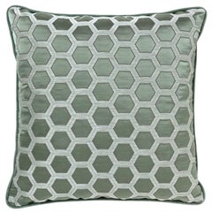 2 Brabbu Honeycomb Blue Pillow in Cotton-Linen Blend