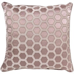 2 Brabbu Honeycomb Pink Pillow in Cotton-Linen Blend