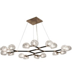 Brabbu Horus II Chandelier in Matte Brass and Black with Crackle Glass Shade