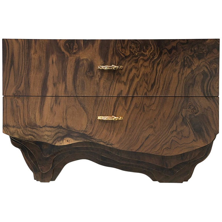 Huang Bedside Table with Walnut Root Veneer and Brushed Brass Detail For Sale