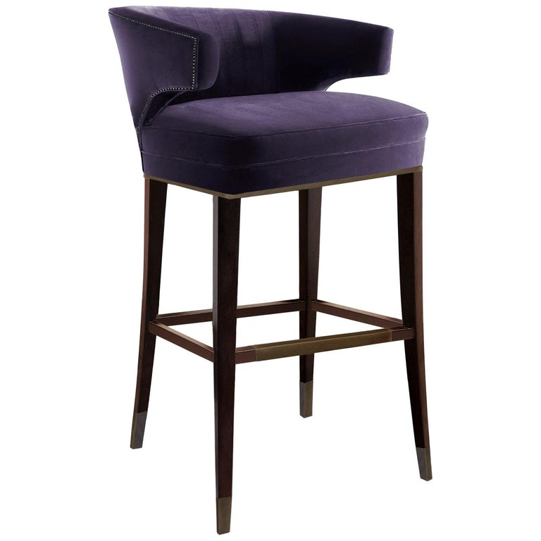 Brabbu Ibis Bar Chair In Purple Cotton Velvet With Wood Legs For