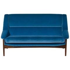 Brabbu Inca Sofa and Loveseat in Bright Blue Cotton Velvet with Wood Legs