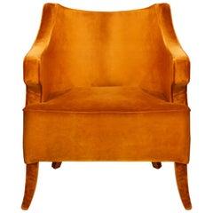 Java Armchair in Cotton Velvet With Fully Upholstered Legs