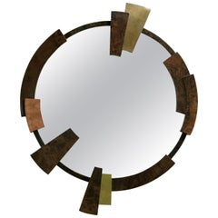 Kaamos Mirror with Walnut Root Veneer and Brass and Copper Detail