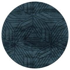 Kaiwa Circular Tufted Tencel Rug II in Midnight Blue
