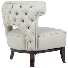 Kansas Armchair in Faux Leather With Glossy Varnish Legs