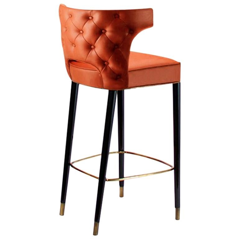 Brabbu Kansas Bar Chair In Orange Faux Leather With Polished Br Detail For At 1stdibs