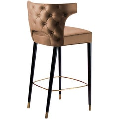 Kansas Counter Stool in Faux Leather With Aged Brass Details